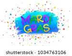 mardi gras vector paper sign on ... | Shutterstock .eps vector #1034763106