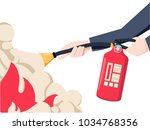 extinguish fire. fireman hold... | Shutterstock .eps vector #1034768356