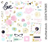 set of cute pink and gold... | Shutterstock .eps vector #1034769085