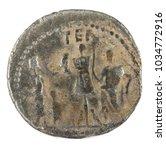Small photo of Roman Republic Coin. Ancient Roman silver denarius of the family Aemilia. Reverse.