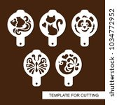 set of coffee stencils. for... | Shutterstock .eps vector #1034772952