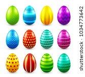 easter eggs colored set. spring.... | Shutterstock .eps vector #1034773642