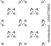 cute cat face pattern. vector... | Shutterstock .eps vector #1034775805