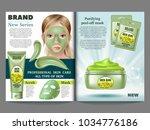 cosmetic magazine template ... | Shutterstock .eps vector #1034776186