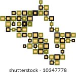Abstract Gold Metal Cubes