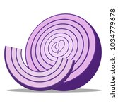 half a ripe onion. sliced... | Shutterstock .eps vector #1034779678