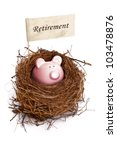 Retirement nest egg, piggy bank in bird's nest - stock photo