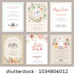vector easter party invitations ... | Shutterstock .eps vector #1034806012