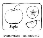 black and white fruit sketch... | Shutterstock .eps vector #1034807212