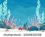 underwater nature background... | Shutterstock .eps vector #1034810338