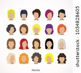 hairstyle silhouette.woman girl ... | Shutterstock .eps vector #1034828605