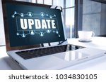 update text on modern laptop... | Shutterstock . vector #1034830105