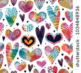 seamless pattern with hearts.... | Shutterstock .eps vector #1034848936