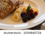 french toast dish with organic... | Shutterstock . vector #1034860726