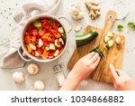 cooking   chef's hands...   Shutterstock . vector #1034866882