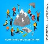 mountaineering isometric vector ... | Shutterstock .eps vector #1034869672