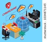 cyber crime isometric concept... | Shutterstock .eps vector #1034871145