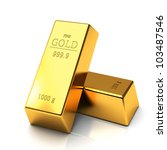 Gold Bars Isolated On White...