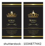 gold crown. luxury label ... | Shutterstock .eps vector #1034877442