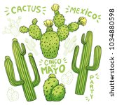 set of mexican cactus with... | Shutterstock .eps vector #1034880598