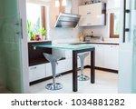 modern white bright house... | Shutterstock . vector #1034881282