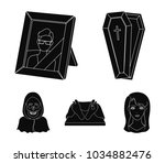 coffin with a lid and a cross ... | Shutterstock .eps vector #1034882476