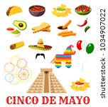 mexican fiesta party food icon... | Shutterstock .eps vector #1034907022
