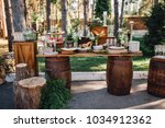 dinner table with snacks and... | Shutterstock . vector #1034912362