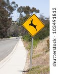 Deer Crossing Warning Sign Wit...