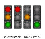 set of 4 modern led traffic... | Shutterstock .eps vector #1034919466
