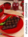 red theme lunch   fresh grilled ... | Shutterstock . vector #1034920048