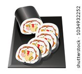 rolled rice seaweed korean... | Shutterstock .eps vector #1034932252