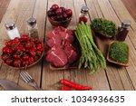 fresh beef meat asparagus... | Shutterstock . vector #1034936635