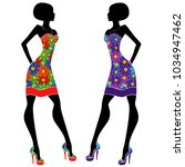 graceful stylish young ladies... | Shutterstock .eps vector #1034947462