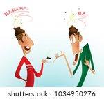 two men are gossiping.... | Shutterstock .eps vector #1034950276