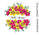 flowers wreath with custom text.... | Shutterstock .eps vector #1034971912