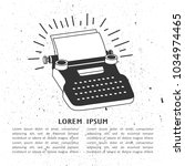 illustration with typewriter ... | Shutterstock .eps vector #1034974465
