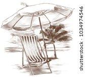 beach sunbeds and sun umbrella...   Shutterstock .eps vector #1034974546