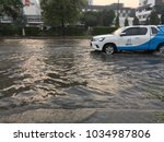 Small photo of 27 February 2018, Bangkok Thailand: Prachachuen Road gets flooded. People get difficult to driving car to their workplace. It's effective from heavy rain at night time