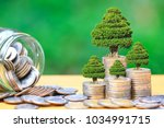 trees growing on coins money... | Shutterstock . vector #1034991715