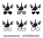 cute unicorn wearing glasses... | Shutterstock .eps vector #1035006562
