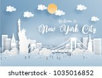 paper art with new york city ... | Shutterstock .eps vector #1035016852