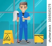 male office boy holding mop and ... | Shutterstock .eps vector #1035035275