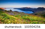 Springtime on the island of Santorini - stock photo