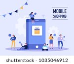 people who do mobile shopping... | Shutterstock .eps vector #1035046912