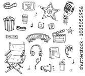 hand drawn doodle cinema set.... | Shutterstock .eps vector #1035053956