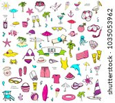 hand drawn doodle beach set... | Shutterstock .eps vector #1035053962