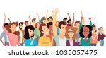 crowd of happy people poster ... | Shutterstock .eps vector #1035057475