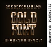 gold alphabet font. fantasy... | Shutterstock .eps vector #1035061732