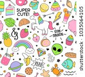 cute funny doodles seamless... | Shutterstock .eps vector #1035064105